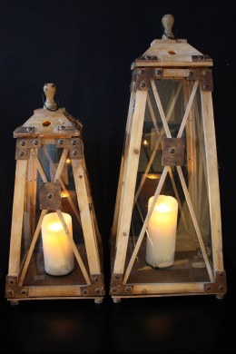 Wood Glass Lantern Set of 2 (33 Inch and 25 Inch) [201126]
