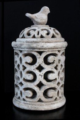 "Ceramic Pierced Jar 12""H, 7'W [201236]"