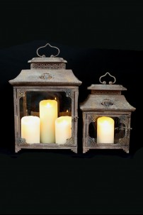 SET OF 2 RUSTIC METAL LANTERNS [201241] SHIPS PALLET ONLY