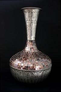"Metal Glass Mosaic Vase 13""W, 23""H [201253]"