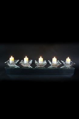 """Mirrored Candle Holder 24""""W, 4""""H [201288]"""