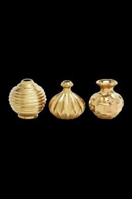 """Ceramic Gold Vase, Set, of 3 6""""W, 6""""H [201304]"""
