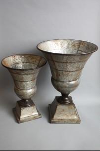 """Metal Urn Set of 2 23"""" & 19""""H [201322]"""