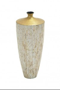 """Lacquer Inlay Small Vase 8""""W, 17""""H [201337]"""