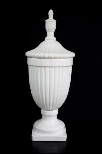 """Ceramic White Urn 10""""W, 26""""H [201341]"""