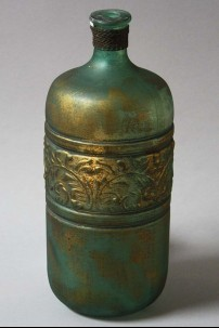 """Glass Metal Embossed Vase 5"""", 12"""" [201382]"""