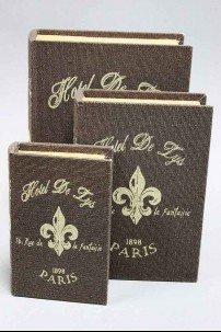 Wood Fabric Book Fleur De Lis Box set of 3 [201385]