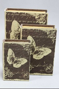 Wood Fabric Book Butterfly Box set of 3 [201386]