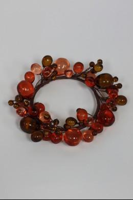 "Beaded Ring, Amber, Rose 3.5"" [220119]"