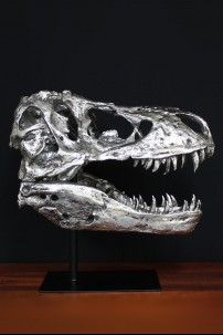 Chrome Dinosaur Head with Metal Stand [376007]