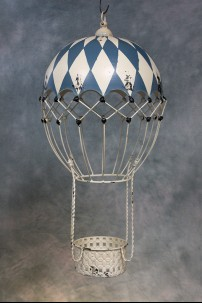 Decorative Metal Hot Air Balloon (Blue and White Boardwalk) [382104]
