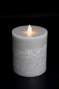 "4"" x 5"" PLATINUM, UNSCENTED, FLAT TOP, MOVING FLAME CANDLE  [384280]"