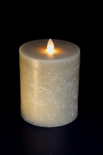 "4"" x 5"" OATMEAL, UNSCENTED, FLAT TOP, MOVING FLAME CANDLE [384281]"