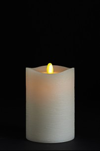 3.5 X 5 Matrix Pillar Candle, Ivory, Frosted Finish, Unscented, Timer, Remote Ready [384321]