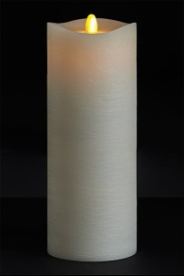 3.5 X 9 Matrix Pillar Candle, Ivory, Frosted Finish, Unscented, Timer, Remote Ready [384323]