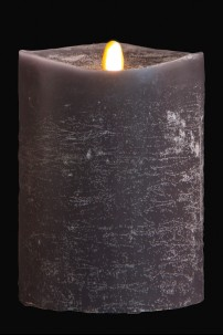 "4"" x 5"" Matrix Pillar Candle, Graphite, Chalk Finish, Unscented, Timer, Remote Ready [384331]"