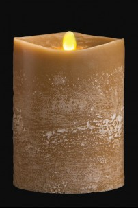 "4"" x 5"" Matrix Pillar Candle, Olive, Chalk Finish, Unscented, Timer, Remote Ready [384333]"