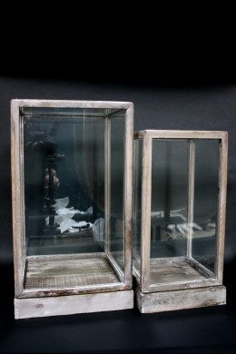 DISTRESSED WOOD FRAME/ GLASS TERRARIUMS [901235] SHIP PALLET ONLY