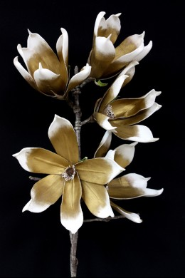 "40""H x 10""D BRONZE AND WHITE BLOOMS  [FF2257]"