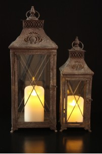 SET OF 2 COUNTRY COTTAGE LANTERNS  [L5003]