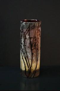 Etched Branch Cylinder Vase 12 Inch [V1301]