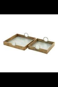 "WOOD ALUM TRAY SET OF 2 16"", 20""W (201412)"