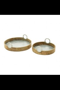 "WOOD ALUMINUM TRAY SET OF 2  16"", 20""W (201414)"