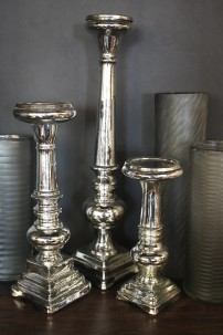 "GLASS CANDLE HOLDER SET OF 3(11"", 15"", 21""H) [201429]"