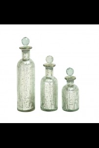 "GLASS STOPPER BOTTLE S/3 12"", 9"", 7"" (201432)"