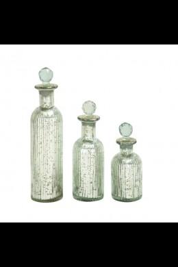 """GLASS STOPPER BOTTLE S/3 12"""", 9"""", 7"""" (201432)"""