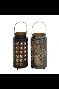 SET OF 2 METAL CANDLE LANTERNS [201477]
