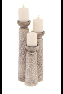 SET OF 3 WOOD METAL CANDLE HOLDER  [201484]