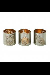 SET OF 3 METAL LEAF VOTIVE HOLDER  [201485]