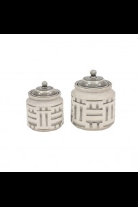 "9""W x 8""H SET OF 2 CERAMIC JARS [201486]"