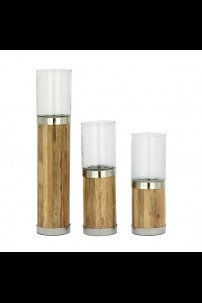 SET OF 3 WOOD ,METAL AND GLASS CANDLE HOLDER [201487]