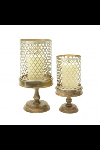 SET OF 2 WOOD METAL CANDLE HOLDER [201490]