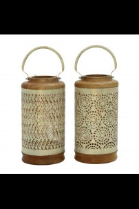 SET OF 2 CREAM, WOOD, AND METAL LANTERN [201491]