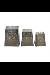 SET OF 3 METAL CANDLE HOLDERS [201494]