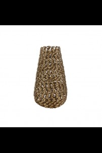 "9""W x  18""H GOLD WOVEN METAL VASE [201503]"