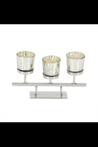 "9""W x 5""H STEEL GLASS VOTIVE HOLDER 9""W, 5""H [201506]"