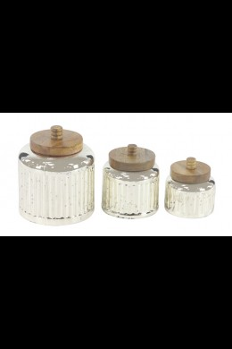 SET OF 3 GLASS WOODEN JARS WITH LIDS [201510]