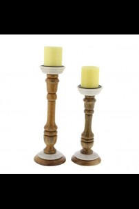 SET OF 2 WOOD MARBLE CANDLE HOLDER [201516]