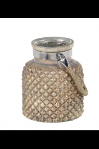 "7"" x 9""H HOBNAIL HURRICANE WITH ROPE HANDLE [201518] SOLD OUT"