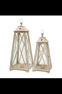 SET OF 2 GLASS WOODEN LANTERNS [201520] SHIPS PALLET ONLY
