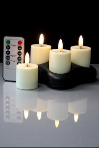 SET OF 4 RADIANCE RECHARGEABLE VOTIVES W/ REMOTE [478245]