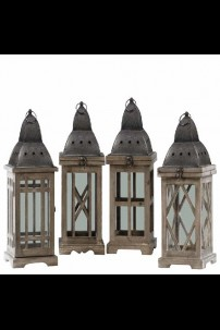 """Assortment of Four Stained Wood Finish Dark Brown Lanterns with Silver Pierced Metal Top (6.75""""x6.75""""x16.00""""H) (479352)"""
