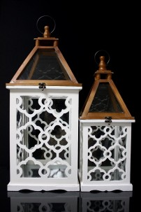 SET OF TWO WOOD LANTERNS WITH WHITE LATTICE   SHIP PALLET ONLY (479353)