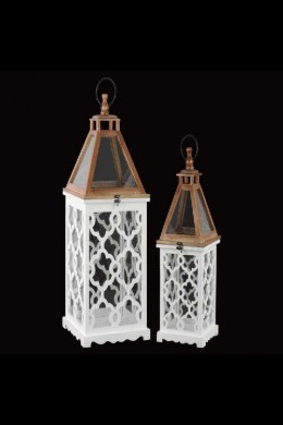 """Set of Two Wood Square Lanterns with Lattice  12.00""""x12.00""""x28.75""""H; 8.75""""x8.75""""x22.50""""H SHIP PALLET ONLY (479353)"""