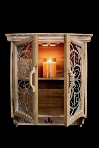 WOOD CABINET WITH METAL SCROLL DETAIL (485398)