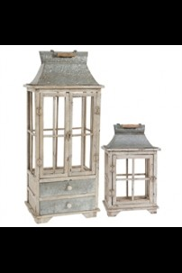 SET OF 2 LANTERN SET W HANDLE & DRAWERS (901297) SHIPS PALLET ONLY